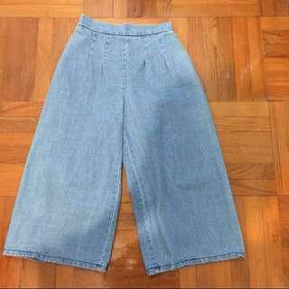 牛仔闊腿褲