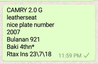 Camry nice plate 9939 sambungbayar