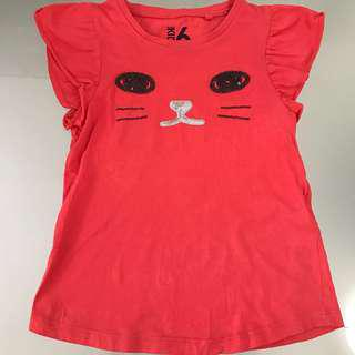 🚚 Cotton On Kids Size 6 Red Cat Face Tee Tshirt Top Girls Children