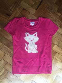 JUSTICE fuschia knit top with furry cat design