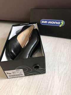 Dr Kong 全新 37碼 健康返工黑皮鞋