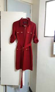 Red belt dress with four pockets