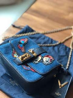 Valentino B-Rockstud Embellished Denim Shoulder Bag