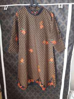 NEW Dress Batik Parang Big Size Coklat Tua Motif Bunga
