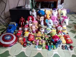 My little pony and assorted plushes
