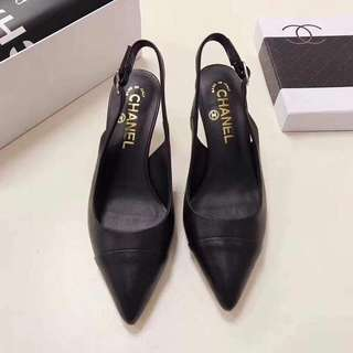 Chanel Black Leather Slingbacks