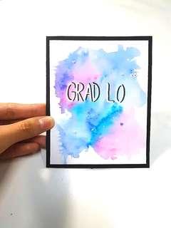 Handmade Watercolour Graduation Cardstock