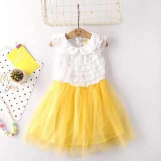 Yellow Lace Vest Dress