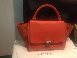 全新低價處理CELINE Orange Calfskin/Suede Leather Mini Trapeze Bag
