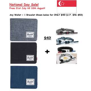 ✧NDP18 SALE!✧ Any Herschel Wallet + Rastaclat Bracelet for $40!✧