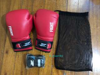 Fight Boxing Gloves 10 oz + Hand Wraps