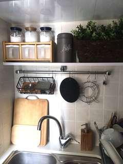 木底黑色鐵籃/廚房收納/家居收納/小型儲物/工業風