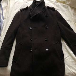 Sale (新) Concept 1 one 韓國購 高質 厚料 極暖 孖襟褸 黑 size L (Peacoat, turtle neck, Korea purchased)