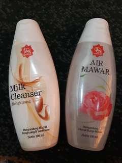 Sepaket milk cleanser dan air mawar viva