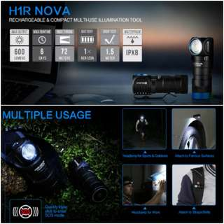 (FREE Delivery) Olight H1R Nova 600 Lumens Right Ankle Rechargeable Headlamp