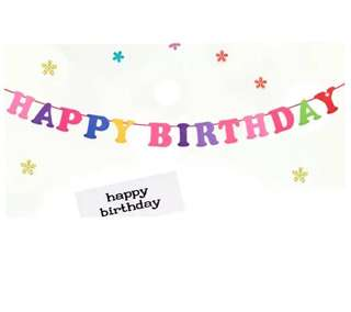 (21/7) Free Normal mail - Happy Birthday Alphabet Hanging Banner / Bunting (Felt material)