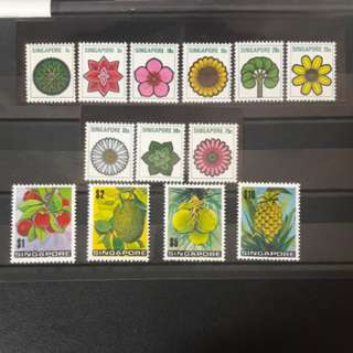 Singapore 1973 Flowers and Fruits stamps