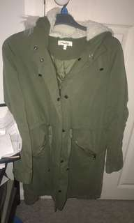 Miss shop jacket long Parker size 10 khaki