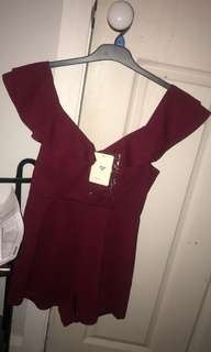 Wine red off shoulder playsuit bnwt size 8
