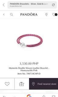 Authentic Pandora Dible Woven Honeysuckle Pink D2