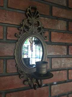 Victorian Brass Scorce Candleholder with mirror
