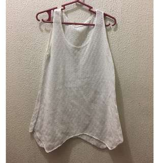 White beach cover up (knitted tank top)