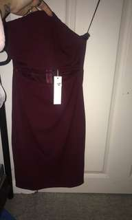 Maroon strapless your dress size 8 bnwt