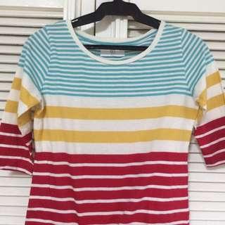 bayo multi colored stripes top