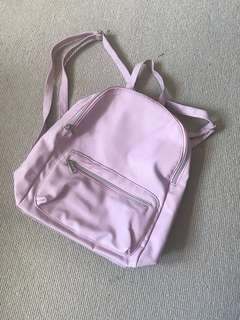 Baby Pink Faux Leather Backpack