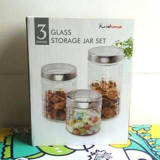 Glass Storage Jar Set Bagus