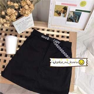 。KIRSH 黑白棋盤格腰帶A字顯瘦裙。