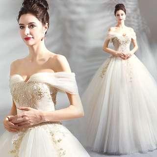 Champagne Off Shoulder Wedding Gown