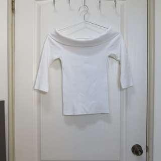 🚚  (Buyer:maritessingahan14)PAZZO 白色針織一字翻領五分袖上衣+PAZZO 白色針織一字領短袖上衣