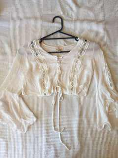 Size 6 white flowy festival crop top boho lace up hippie
