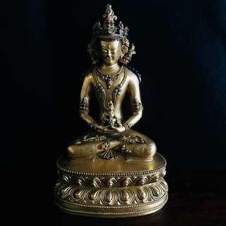 🚚 老件老銅 鎏金 佛像 長壽佛 寶石 綠松石 瑪瑙 細工 細雕