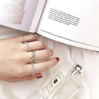 🚚 垂墜星星鑽鏈S925純銀可調式戒指