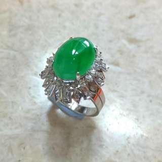 翡翠18K鑽石戒指