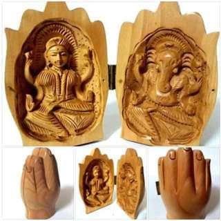Laxmi Ganesha in hand capsule shape solid wood