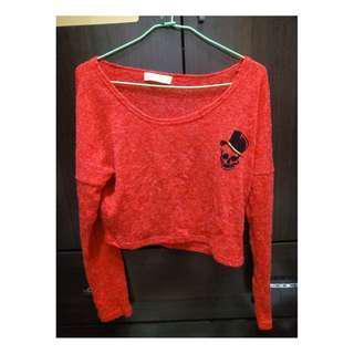 ♥日系甜美龐克針織骷髏長袖短版上衣-搖滾紅