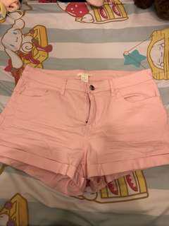 H&M 粉紅 斜紋布料短褲