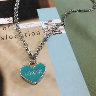 I love you silver necklace
