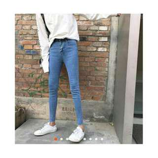 ♥ 顯瘦細腿素面高腰褲腳鬚邊牛仔褲丹寧褲