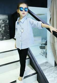 Korean Rabbit Blue Stripe Shirt