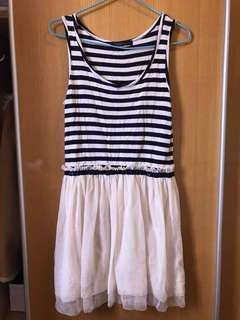 日本pageboy藍白橫間紗裙
