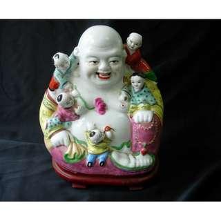 景德鎮陶-五子登科彌勒佛粉彩陶瓷像擺設(多仔佛)
