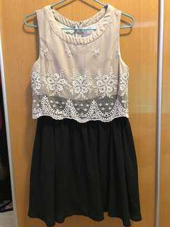 黑白拼斯文裙