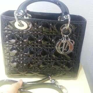 Dior 黑漆皮5格2用袋7成新