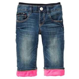 AmyGO 美國正品 Baby Gap 小女童/小女生 保暖 反摺長褲 內刷毛 直筒 牛仔褲 6-12M