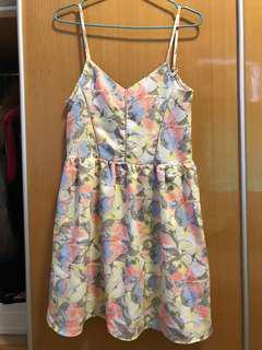 吊帶花花連身裙