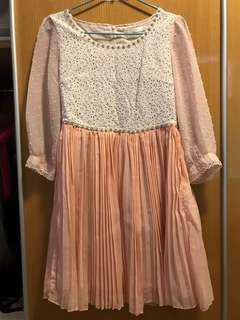 白色拼粉紅色中袖斯文裙